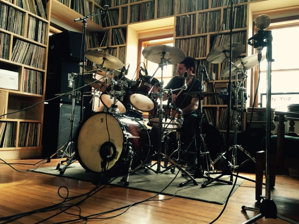 "Recording drums for ""Devil on Your Back"" in the WVBR Live Room, Ithaca NY."